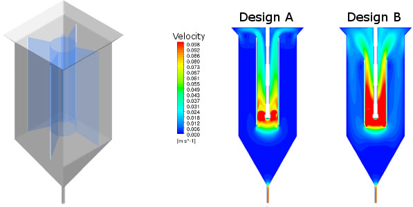 Struvite crystalliser design with baffle and impeller, simulated with CFD