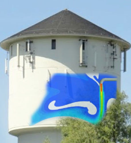 Picture of water tower with overlay of CFD simulation