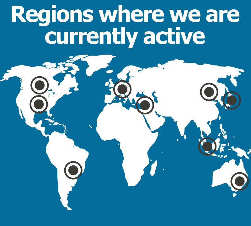 A world map showing AM-TEAM customer locations