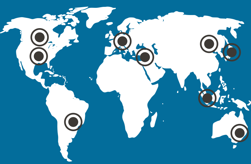World map showing AM-TEAM customer locations